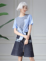 ROOM404  Women's Going out Simple Summer T-shirtStriped Round Neck Short Sleeve Blue Cotton Opaque