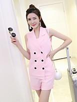 Women's Work Simple Summer Set PantSolid Notch Lapel Sleeveless Pink Polyester Medium