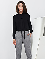 C+IMPRESS Women's Going out Simple Spring / Fall T-shirtSolid / Striped Crew Neck Long Sleeve Black Rayon Medium