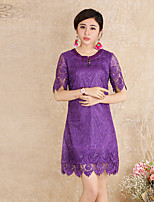 Our Story Women's Going out Vintage Sheath DressPrint Round Neck Above Knee Short Sleeve Purple Polyester