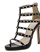 Women's Sandals Summer Sandals PU Casual Stiletto Heel Rivet Black Others