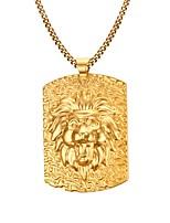 Gold Medal LionThe King 18K Gold Necklace Men