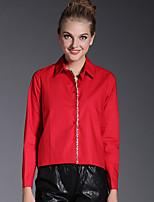 AJIDUO® Damen Hemdkragen Lange Ärmel Shirt & Bluse Schwarz / Rot-6576