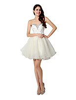 Cocktail Party Dress A-line Sweetheart Short / Mini Organza with Crystal Detailing / Sequins