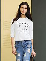 Tee-shirt Femme,Lettre Décontracté / Quotidien simple Printemps / Automne ½ Manches Col Arrondi Blanc / Gris Rayonne / Nylon / Spandex
