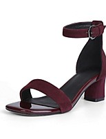 Women's Sandals Summer Sandals Leather Outdoor Chunky Heel Buckle Black / Gray / Burgundy Others