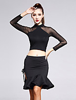 Latin Dance Outfits Women's Training Milk Fiber / Modal Ruched 2 Pieces Black Latin Dance Long Sleeve Top / Skirt