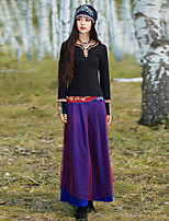 Our Story Women's Embroidered Purple Loose PantsVintage Spring / Fall