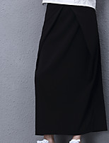 Women's Solid Black SkirtsSimple Maxi