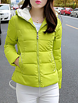 Women's Solid Blue / Red / White / Black / Green / Yellow Padded CoatStreet chic Hooded Long Sleeve