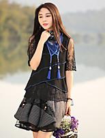 Tee-shirt Aux femmes,Couleur Pleine Sortie Vintage Eté ½ Manches Col Arrondi Noir Polyester Moyen