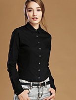 NAKED ZEBRA Women's Shirt Collar Long Sleeve Shirt & Blouse Black-12001C
