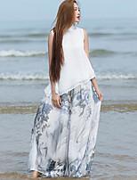 Ramie Cotton Women's Print Gray Wide Leg PantsChinoiserie Summer