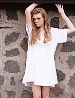 Damen Lose Kleid-Lässig/Alltäglich Street Schick Solide V-Ausschnitt Knielang Kurzarm Weiß Baumwolle Sommer