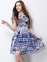 Women's Going out Sophisticated Summer Set SkirtPrint Round Neck Sleeveless Blue Polyester Medium