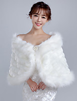 Women's Wrap Capelets Sleeveless Faux Fur White Wedding / Party/Evening / Casual Bateau