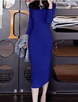 Damen Bodycon Kleid-Ausgehen Sexy Solide Rundhalsausschnitt Midi Langarm Blau / Schwarz Polyester Herbst / Winter Mittlere Hüfthöhe