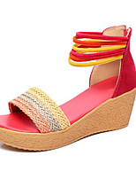 Women's Sandals Summer Comfort Polyester Casual Wedge Heel Others Fuchsia / Camel Others