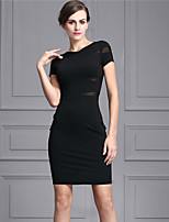 Baoyan Women's V Neck Short Sleeve Above Knee Dress-888086