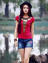 De las mujeres Vintage Noche Verano Camiseta,Escote Redondo Bordado Manga Corta Algodón / Licra Rojo Medio
