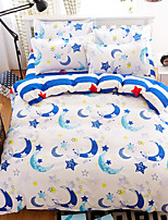 Bedtoppings Comforter Duvet Quilt Cover 4pcs Set Queen Size Flat Sheet Pillowcase Moon Prints Microfiber