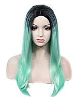 imstyle 22long прямо ретро мяты темный корень синтетический парик машина не парик шнурка
