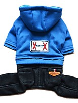 Dog Hoodie Clothes/Jumpsuit Dog Clothes Winter Spring/Fall Jeans Fashion Dark Blue Pink Light Blue