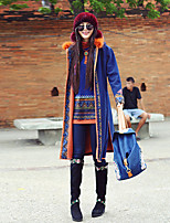 Our Story Women's Going out Boho CoatGeometric Hooded Long Sleeve Winter Blue Wool / Polyester Medium