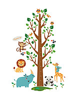 Wall Stickers Wall Decals Style Cute Animal Monkey Lion Giraffe Tree Measure Your Height PVC Wall Stickers