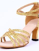Non Customizable Women's Dance Shoes Sparkling Glitter Sparkling Glitter Latin Heels Chunky Heel Performance