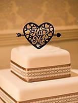 Kakepynt Ikke-personalisert Hjerter Akryl Bryllup Blomster Svart Klassisk Tema 1 Gaveeske