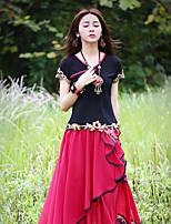 Tee-shirt Aux femmes,Broderie Sortie Chinoiserie Eté Manches Courtes Coeur Noir Coton / Spandex Moyen