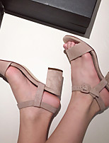 Women's Sandals Summer Comfort Suede Casual Chunky Heel Buckle Black / Nude Others