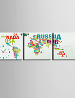 MINI SIZE E-HOME Alphabet Map Clock in Canvas 3pcs