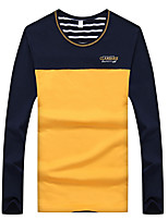 Men's Striped / Solid / Patchwork / Color Block Casual / Work T-Shirt Cotton / Spandex Long Sleeve 5Colors