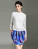 BURDULLY  Going out Sophisticated Spring / Fall T-shirtSolid Round Neck Long Sleeve White / Black Others Medium