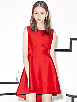 I'HAPPY Women's Going out Simple A Line DressSolid Round Neck Above Knee Sleeveless Blue / Red