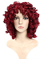 Red Color Curly European Synthetic Wigs For Afro Women