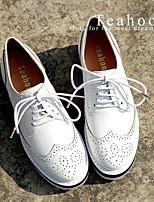 Women's Flats Fall Mary Jane Leatherette Outdoor Flat Heel Others Black / White Walking