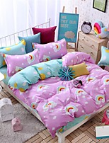 Bedtoppings Comforter Duvet Quilt Cover 4pcs Set Queen Size Flat Sheet Pillowcase Rainbow Prints Microfiber