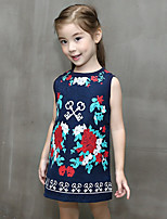 Girl's Casual/Daily Print DressRayon Winter / Spring / Fall Blue
