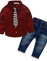 Мальчик Джинсы / Набор одежды,На каждый день,Однотонный,Хлопок,Весна / Осень,Синий / Красный