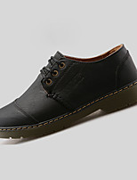 Men's Flats Spring / Fall Comfort / Round Toe  Casual Flat Heel Lace-up Black / Brown / Red Walking