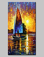 Large Hand Painted Modern Abstract Landscape Boat Oil Painting On Canvas Wall Art With Stretched Frame Ready To Hang