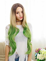 2016 New Hot Sexy Green/Grey Two Tone Color Synthetic Wigs Long Wave Ombre Wig Hair