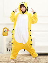 Unisex Cashmere / Polyester Cute Tiger Cartoon One-piece Pajama Winter Thick Sleepwear Yellow