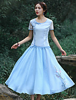 Our Story Women's Embroidered Blue SkirtsVintage Maxi