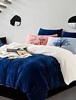 Super Soft Warm Winter Thick Cashmere  4 Piece  Linen Quilt Kit   Bedding Set
