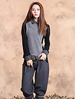 Our Story  Going out Vintage Regular PulloverSolid / Color Block Gray Shirt Collar Long Sleeve Rabbit Fur / Cotton