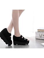 Women's Sandals Summer Platform Suede Casual Wedge Heel Hook & Loop Black Others